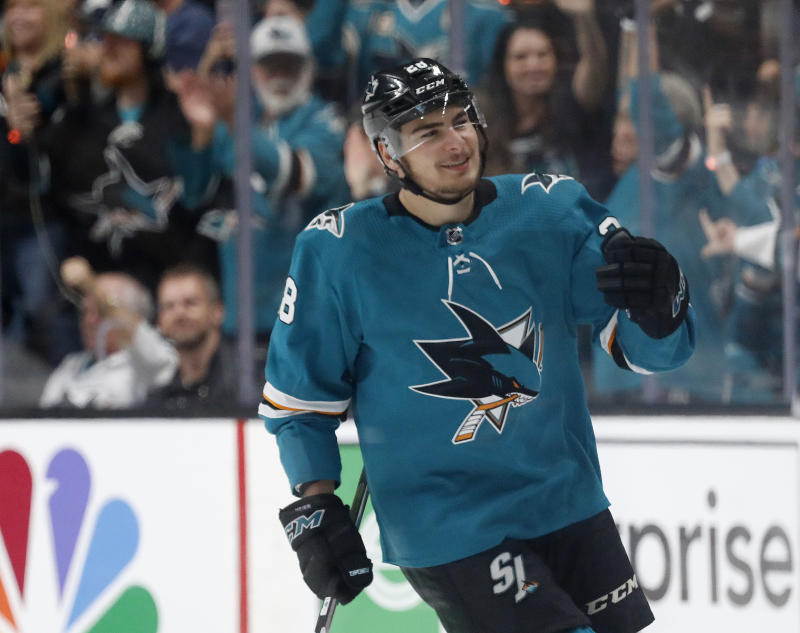 pretty nice b621d ff9d5 Timo Meier scores 2 to lead Sharks past Blues 6-3 in Game 1