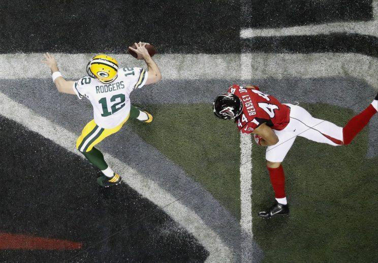 The Falcons have taken down Russell Wilson and Aaron Rodgers (above). They hope Tom Brady is next. (AP)