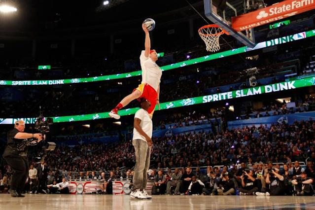 Chase Budinger dunked over Puff Daddy in the 2012 slam dunk contest, so you know he's got hops. (Getty Images)