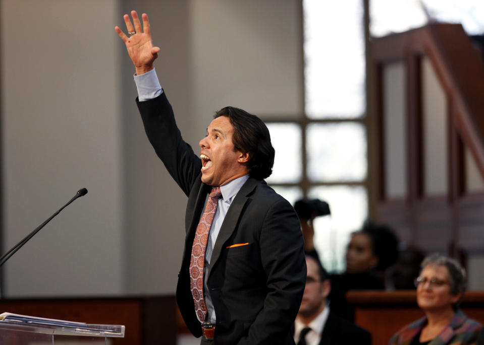 """FILE - In this Monday, Jan. 21, 2013 file photo, Rev. Samuel Rodriguez, president of the National Hispanic Christian Leadership Conference, speaks during the annual Dr. Martin Luther King Jr. holiday commemorative service at the Ebenezer Baptist Church in Atlanta - the first time a Latino leader has served as the keynote speaker for the event. In the days after the Nov. 3, 2020 election, Rodriguez, who has advised Trump, said the advances with Latino voters are one reason why evangelicals should view the election as """"a win"""" for their priorities. (AP Photo/David Goldman)"""