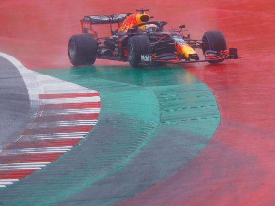 Max Verstappen went off at the final turn on his last run in qualifying (Reuters)