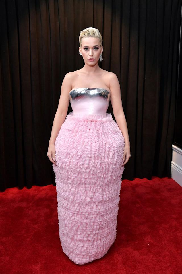 """<p>Katy Perry wears <a rel=""""nofollow"""" href=""""https://fave.co/2BvmfHU"""">Malone Souliers</a> shoes.</p>"""