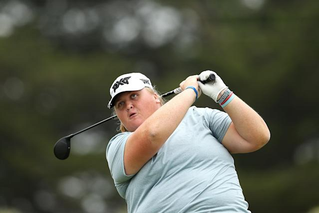 """<h1 class=""""title"""">ISPS LPGA Handa Vic Open - Day One</h1> <div class=""""caption""""> GEELONG, AUSTRALIA - FEBRUARY 06: Haley Moore of the United States tees off the 14th hole during Day One of the ISPS Handa Vic Open at 13th Beach Golf Club on February 06, 2020 in Geelong, Australia. (Photo by Jack Thomas/Getty Images) </div> <cite class=""""credit"""">Jack Thomas</cite>"""