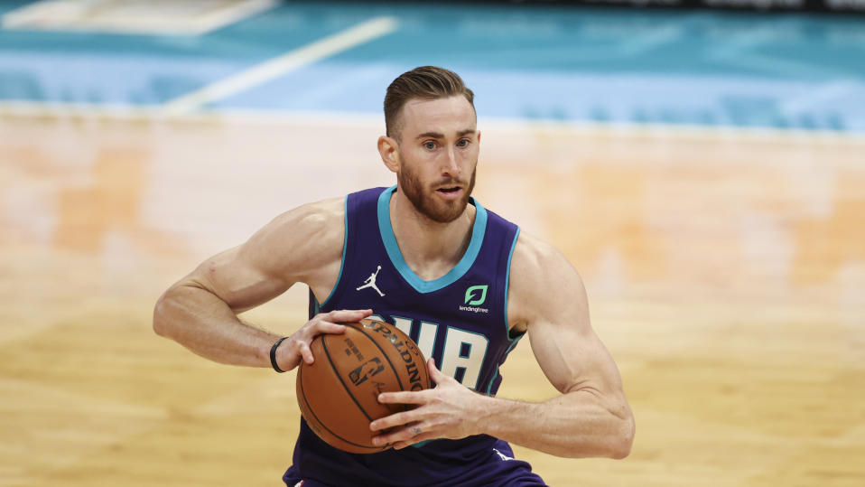 Charlotte Hornets forward Gordon Hayward looks to pass against the Indiana Pacers in the second half of an NBA basketball game in Charlotte, N.C., Wednesday, Jan. 27, 2021. Indiana won 116-106. (AP Photo/Nell Redmond)