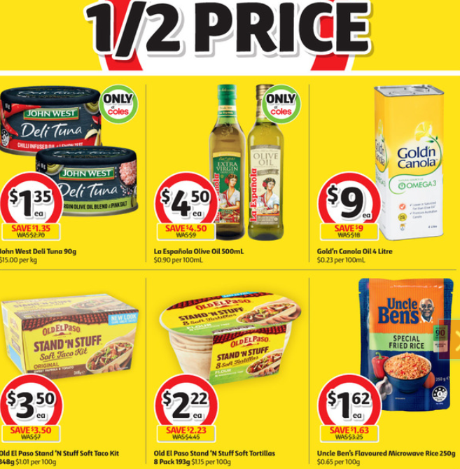 Groceries at Coles selling for half-price this week.