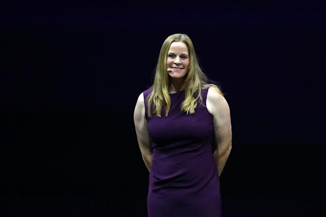 Cindy Parlow Cone, shown during the 2019 Women's World Cup draw, was named acting president of U.S. Soccer after Carlos Cordeiro resigned. (Photo by Dean Mouhtaropoulos/Getty Images)