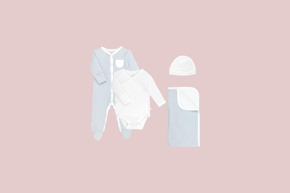 """<p>This capsule set makes the perfect gift. It includes four beautiful, yet practical essentials which have been crafted from a blend of bamboo and organic cotton fabric—making it ideal for a newborn's sensitive skin.</p> <p><strong><em>Shop Now:</em></strong><em> MORI """"Welcome to the World"""" Newborn Gift Set, $126, <a href=""""https://www.thetot.com/product/baby-mori-organic-welcome-to-the-world-set/"""" rel=""""nofollow noopener"""" target=""""_blank"""" data-ylk=""""slk:thetot.com"""" class=""""link rapid-noclick-resp"""">thetot.com</a></em><em>.</em></p>"""
