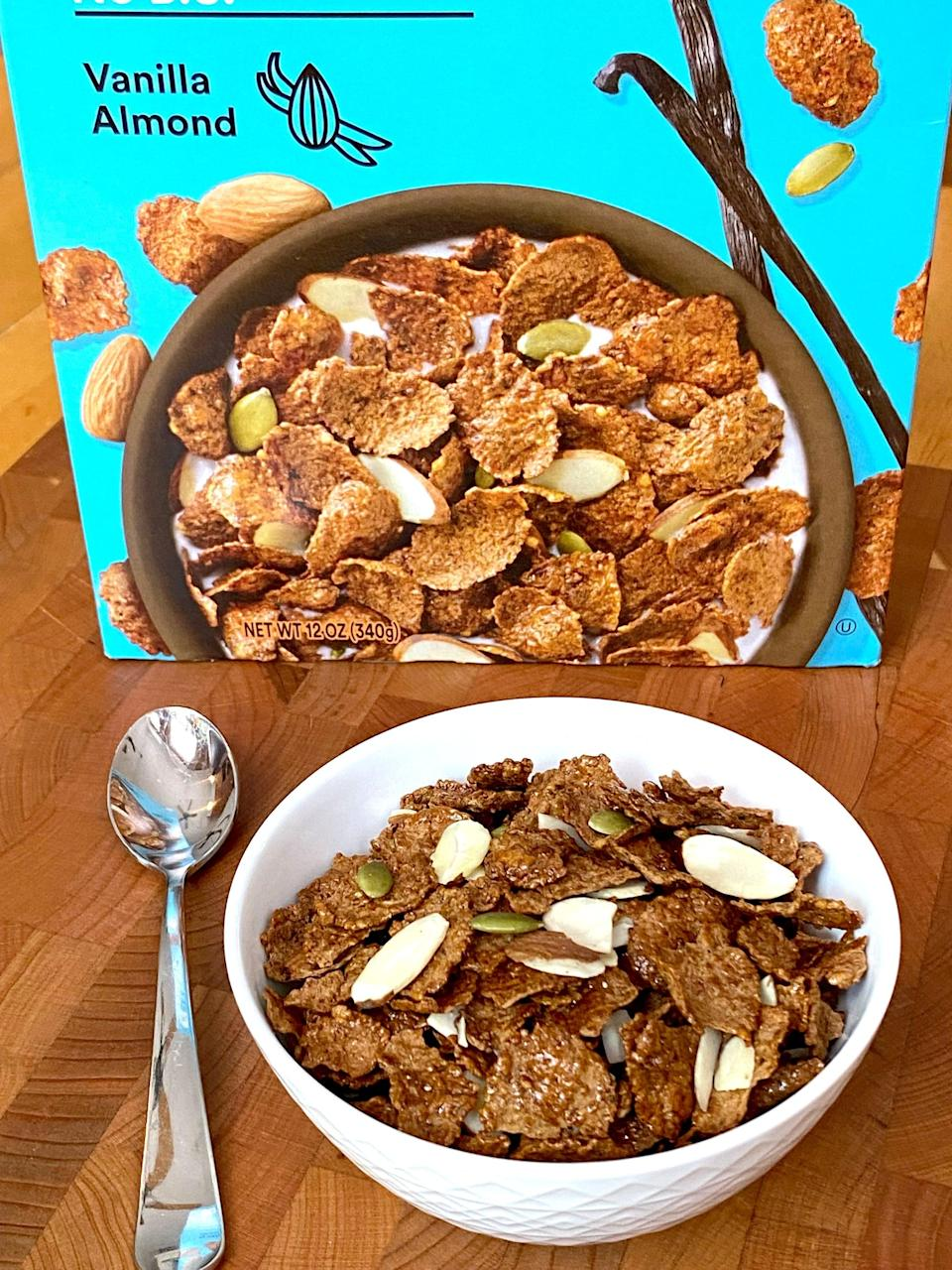 """<p>This Vanilla Almond RX Cereal reminded me of <a href=""""http://cereals.generalmills.com/products/golden-grahams/"""" class=""""link rapid-noclick-resp"""" rel=""""nofollow noopener"""" target=""""_blank"""" data-ylk=""""slk:Golden Grahams"""">Golden Grahams</a>. Based on the cereal's name I was expecting a strong vanilla flavor but I didn't detect that. I could, however, absolutely taste the honey on these satisfyingly crunchy flakes. I loved how there were plenty of sliced almonds and pumpkin seeds mixed throughout my bowl. </p> <p>This flavor was my favorite to snack on dry, but when paired with soy milk, I liked the Chocolate Almond flavor more. Both cereal flavors are delicious, and I'd recommend them 100 percent if you're a cereal fan. You can find these on the RX website for $24 for three boxes, and it will roll out at select retailers nationwide.</p>"""