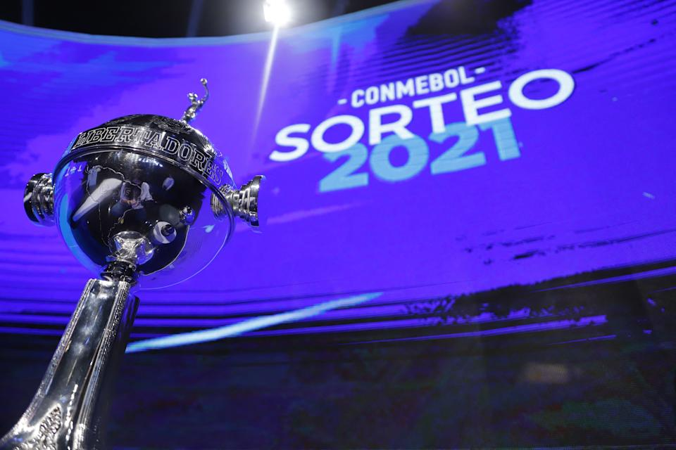 View of the Copa Libertadores trophy during the draw of the football tournament at the South American Football Confederation (Conmebol) headquarters in Luque, Paraguay, on April 9, 2021. (Photo by Nathalia Aguilar / POOL / AFP) (Photo by NATHALIA AGUILAR/POOL/AFP via Getty Images)