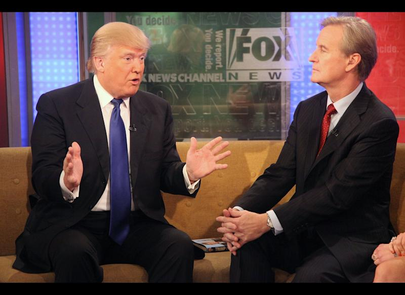 NEW YORK, NY - DECEMBER 06: (L-R) Donald Trump talks with 'FOX & Friends' host Steve Doocy at FOX Studios on December 6, 2011 in New York City. (Photo by Astrid Stawiarz/Getty Images)