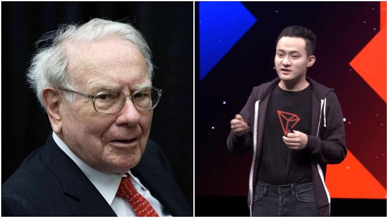 Justin Sun has bid a record $4.5 million to have lunch with Warren Buffett. Can the Tron founder change the billionaire's mind about crypto? | Source: REUTERS/Rick Wilking (i), Tron/YouTube (ii). Image Edited by CCN.