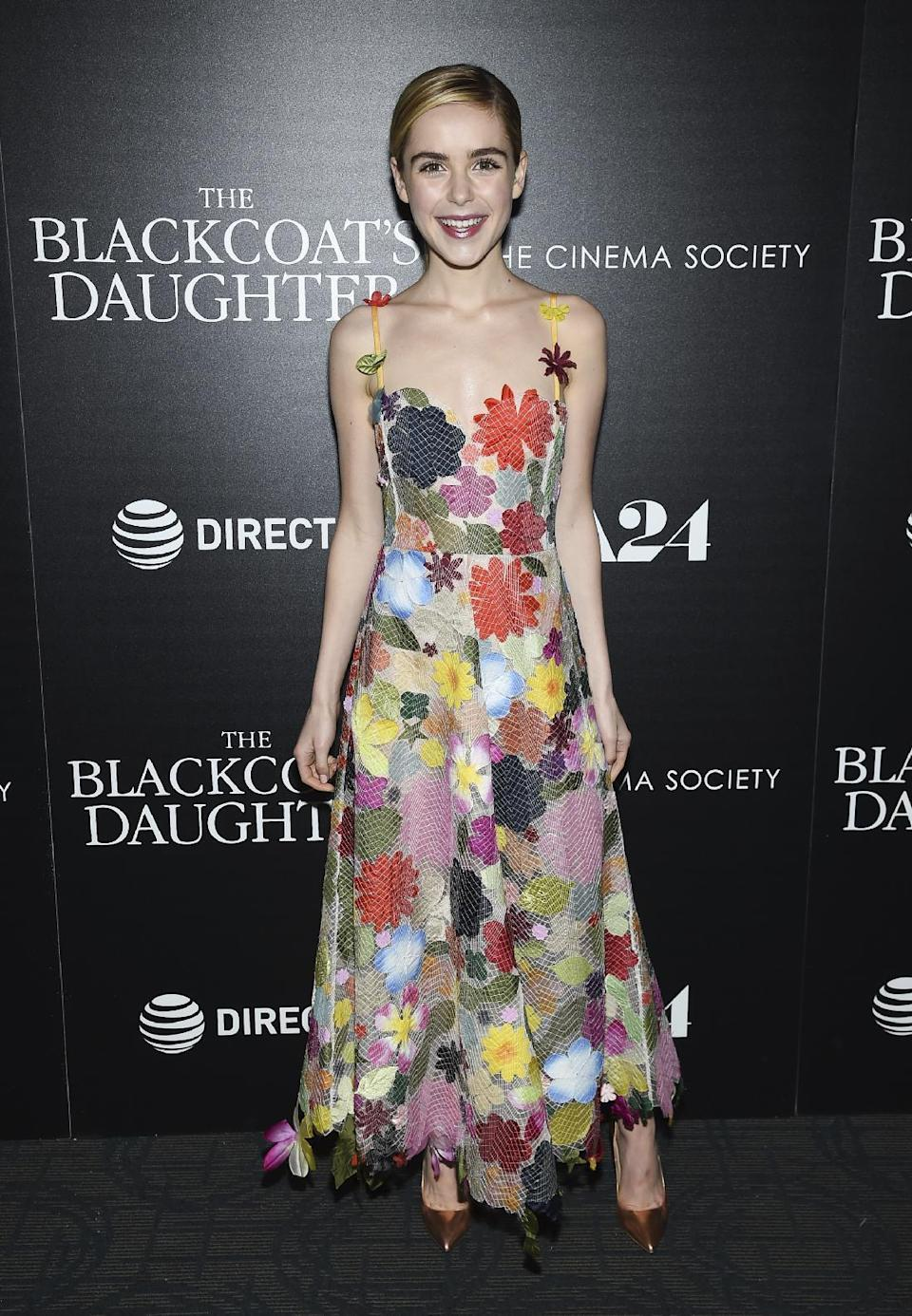 <p>At 17 years old, Kiernan outperforms her older co-stars in this abstract floral Rosie Assoulin design.<br><i>[Photo: AP]</i> </p>
