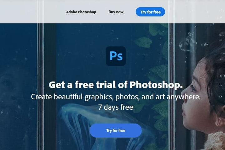 Photoshop free trial website screenshot