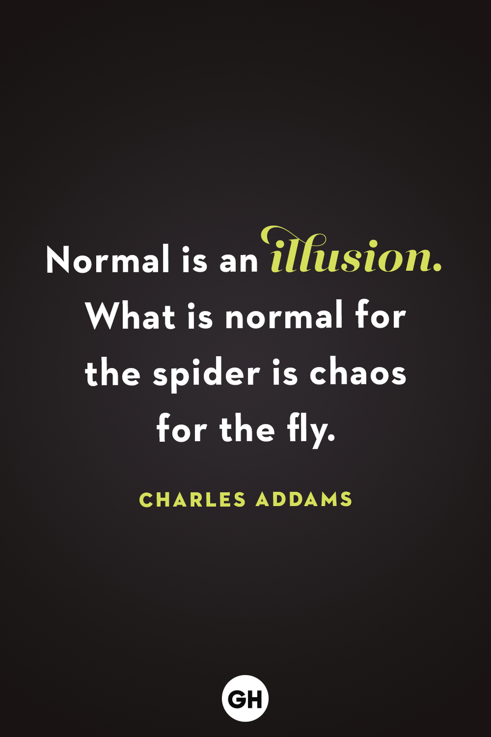 <p>Normal is an illusion. What is normal for the spider is chaos for the fly.</p>