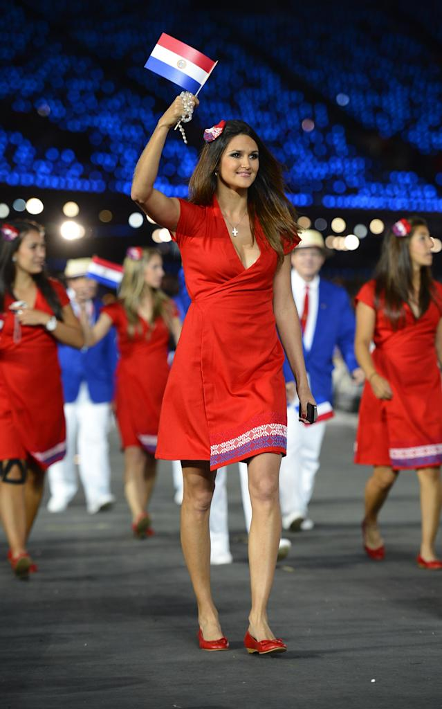 Paraguay's athlete Leryn Franco parades with her country's delegation during the opening ceremony of the London 2012 Olympic Games on July 27, 2012 at the Olympic stadium in London. AFP PHOTO / LEON NEALLEON NEAL/AFP/GettyImages