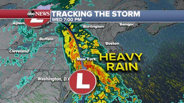 PHOTO: Tracking the storm through Wednesday night weather map. (ABC News)