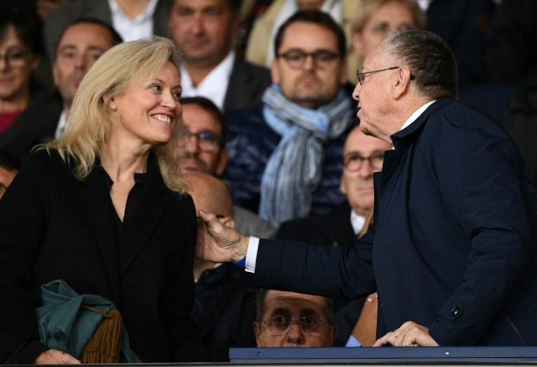 Lyon president Jean-Michel Aulas (R) with French league president Nathalie Boy de la Tour. Aulas has been the leading critic of the decision to end the season early (AFP Photo/FRANCK FIFE)