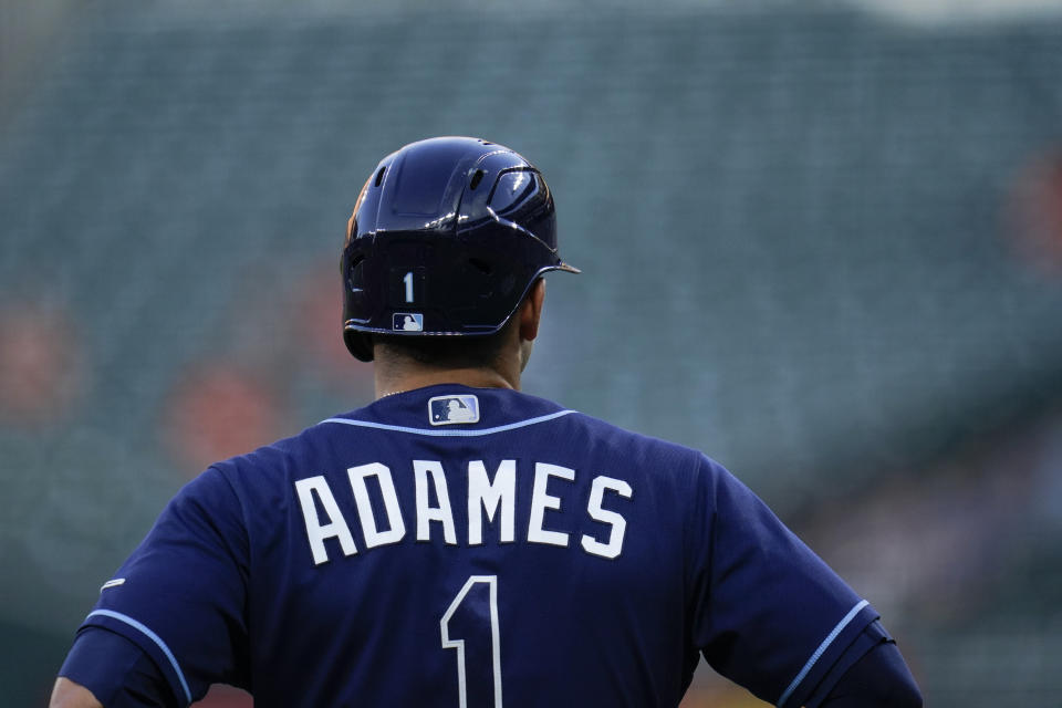 Tampa Bay Rays' Willy Adames leads off from third base against the Baltimore Orioles during the second inning of a baseball game, Tuesday, May 18, 2021, in Baltimore. (AP Photo/Julio Cortez)