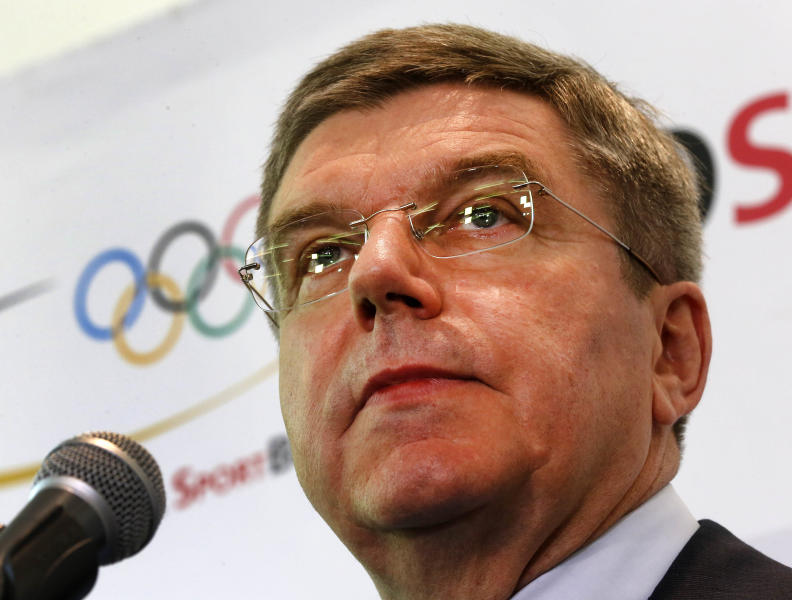 President of German Olympic Sports Confederation Thomas Bach announces his candidacy for President of International Olympic Committee in Frankfurt, Germany, Thursday, May 9, 2013. (AP Photo/Michael Probst)