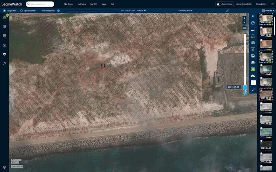 The video from Maxar shows Subi Reef before the land was added. Photo: Handout