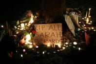 Memorial site at the Clapham Common Bandstand, following the kidnap and murder of Sarah Everard in London