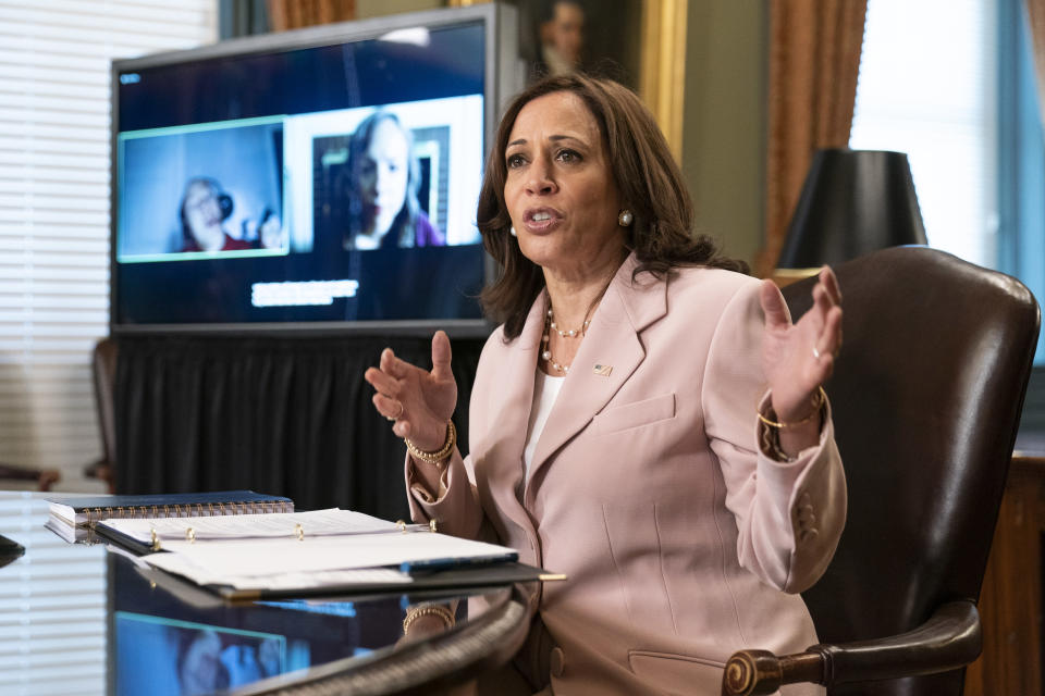 FILE - In this Wednesday, July 14, 2021 file photo, Vice President Kamala Harris speaks during a roundtable with disabilities advocates on voting rights in the Vice President's Ceremonial Office at the Eisenhower Executive Office Building on the White House complex in Washington. Three of the Democratic state lawmakers who fled Texas to stymie a Republican-backed effort to impose broad new voting restrictions have tested positive for COVID-19, the Texas House's Democratic caucus said Saturday, July 17, 2021. Members of the caucus have met with Vice President Kamala Harris, but it was not immediately known whether the three who contracted COVID-19 did so. (AP Photo/Manuel Balce Ceneta, File)