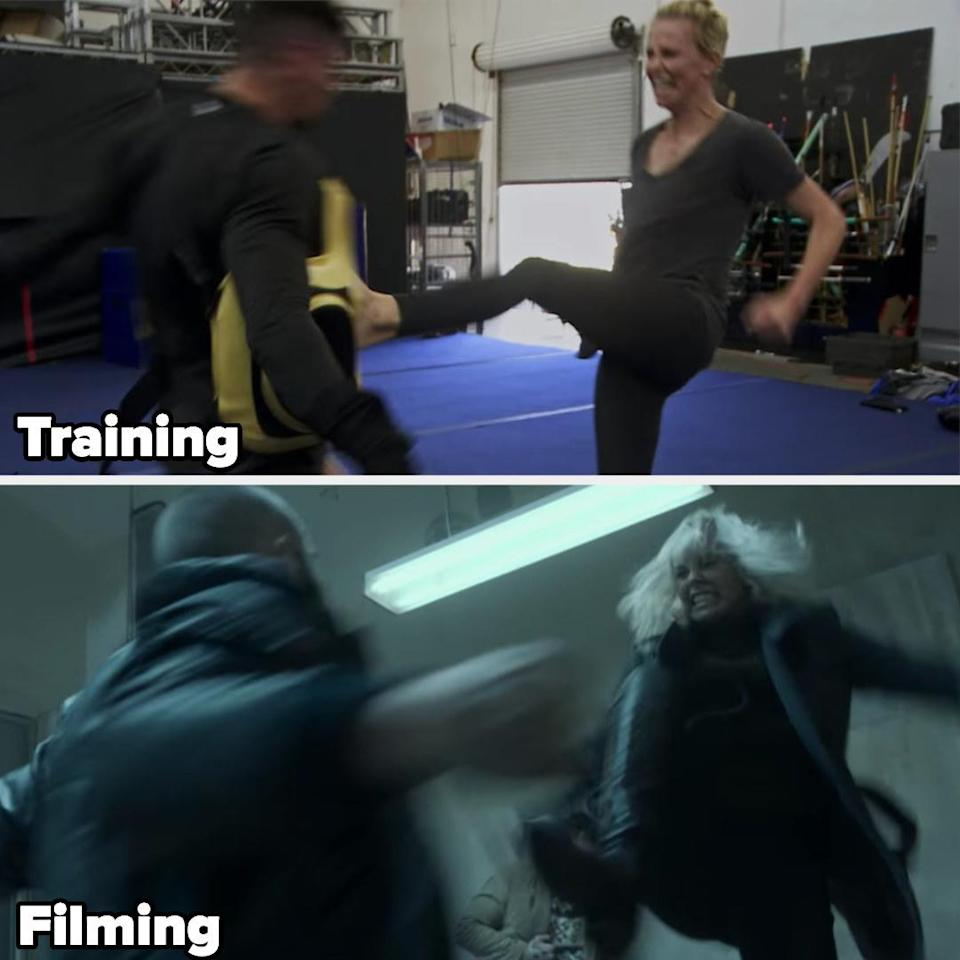 Charlize Theron kicking a guy in training and then while filming