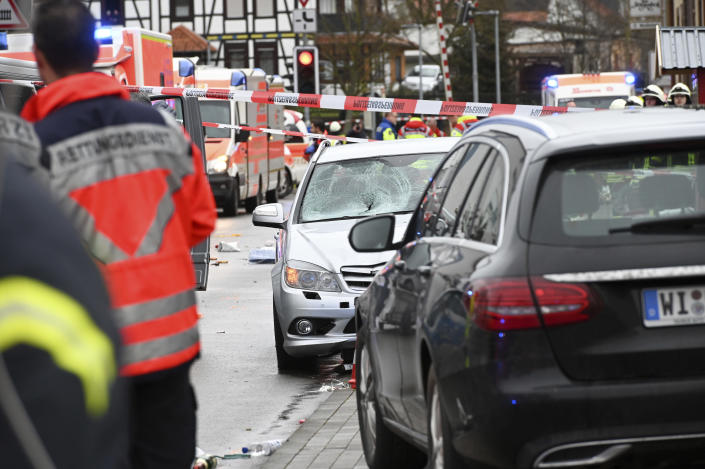 Several people have been injured, according to the police. The driver had been arrested by the police. (Uwe Zucchi/dpa via AP)