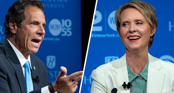 New York Gov. Andrew Cuomo and Democratic New York gubernatorial candidate Cynthia Nixon debate. (Photo: Craig Ruttle, Pool/AP)
