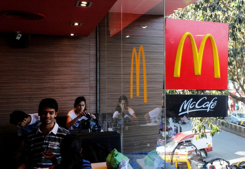 FILE PHOTO: Visitors are seen at a McDonald's restaurant in Mumbai