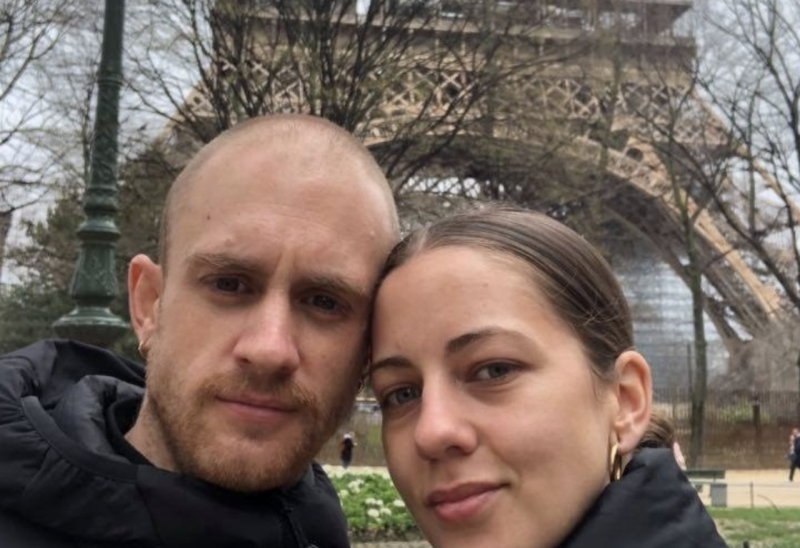 Jack Bright and Bridget Caldwell are stranded in France without a flight home. Source: GoFundMe