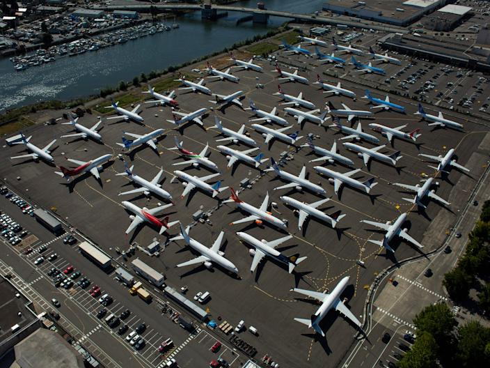 Undelivered Boeing 737 Max planes are parked at a Boeing property in Seattle, Washington.