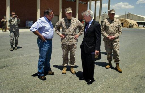 US Secretary of Defense Leon Panetta (L) speaks with Allen (C), and US Ambassador to Afghanistan Ryan Crocker (2R)