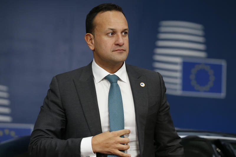 Irish Prime Minister Leo Varadkar arrives for an EU summit in Brussels, Thursday, Oct. 17, 2019. Britain and the European Union reached a new tentative Brexit deal on Thursday, hoping to finally escape the acrimony, divisions and frustration of their three-year divorce battle. (Julien Warnand, Pool Photo via AP)