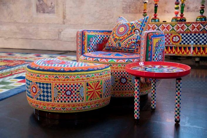 Bold, maximalist pieces from Dolce & Gabbana's debut decor collection