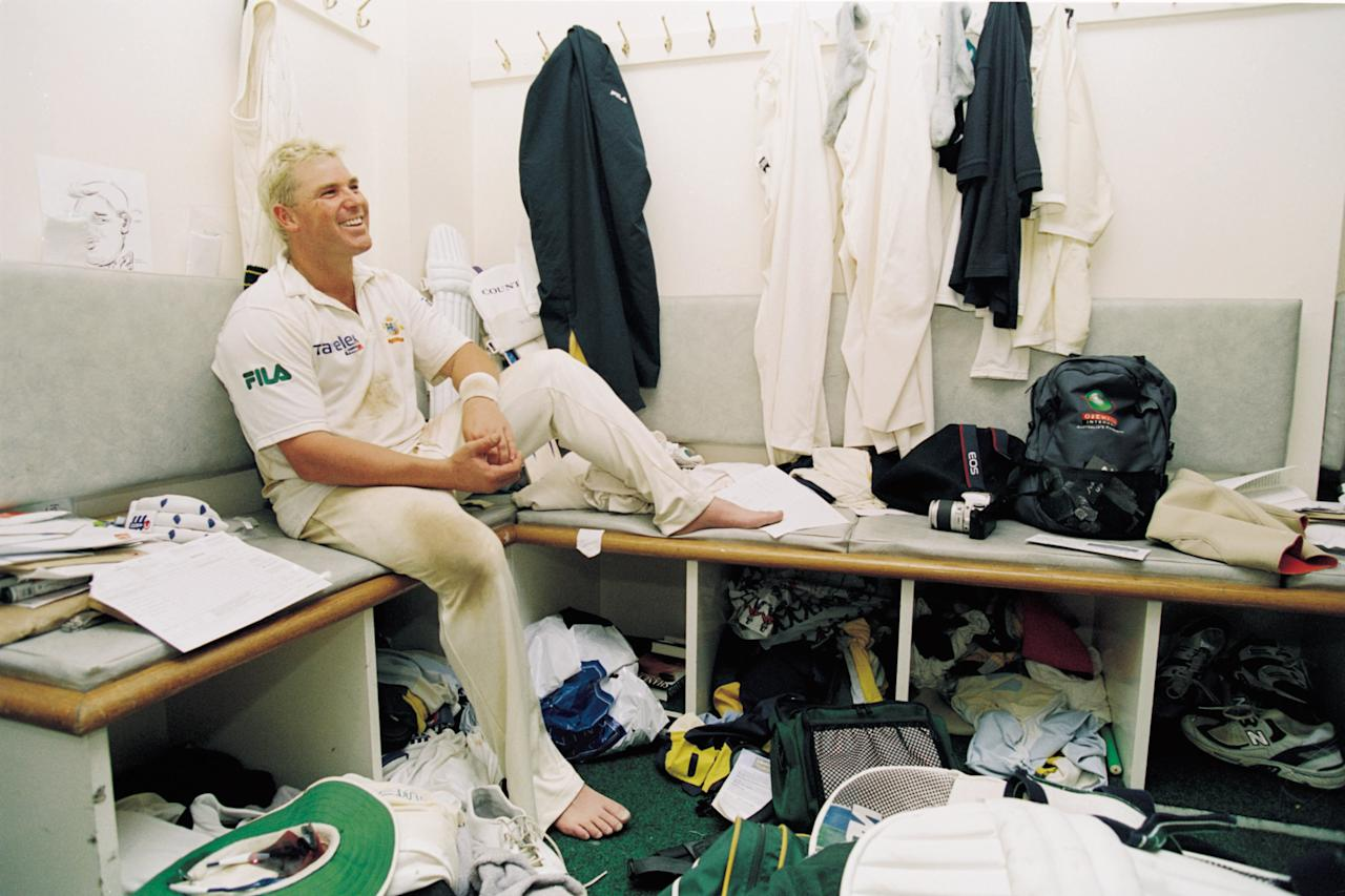23 - 27 Aug 2001:  Shane Warne of Australia relaxes in the dressing room after victory in the Fifth Ashes Test match between England and Australia played at The Oval in London.  Australia won the game by an innings and 25 runs to win the 5-Test series 4-1. \ Mandatory Credit: Hamish Blair /Allsport
