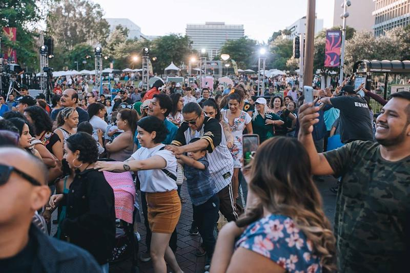 The crowd at the 2018 El Grito filled Grand Park in the center of L.A.
