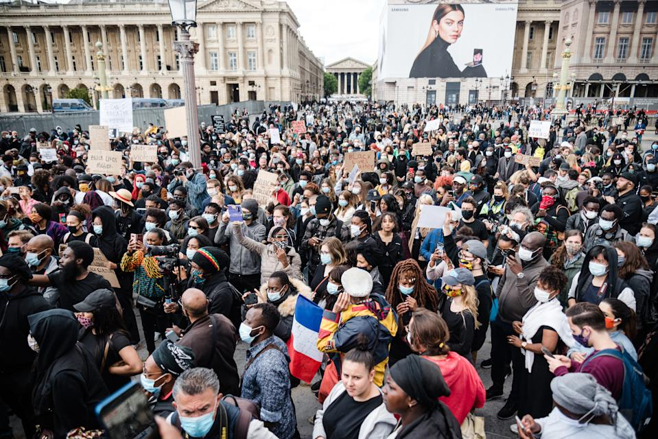 On June 6, 2020, a rally of the Black Lives Matter movement took place on the Place de la Concorde in front of the US Embassy in Paris, organized on the initiative of the Ligue de Défense Noire Africaine (LDNA) and the Anti-Negrophobia Brigade gathered a few thousand demonstrators who came with numerous placards with slogans for George Floyd, against police violence and against racism. (Photo by Samuel Boivin/NurPhoto via Getty Images)