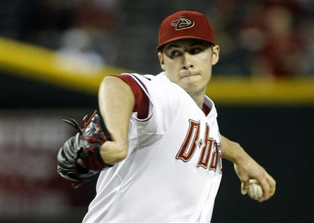 Diamondbacks' Patrick Corbin delivers a pitch against the Dodgers during their MLB game in Phoenix