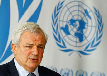 Stephen O'Brien, U.N. Under-Secretary-General for Humanitarian Affairs, attends a news conference at the United Nations in Geneva, Switzerland June 22, 2017. REUTERS/Denis Balibouse