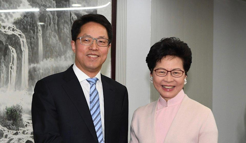 Chief Executive Carrie Lam and Zhang Xiaoming, Director of the Hong Kong and Macau Affairs Office, are among the officials named as targets for sanctions. Photo: ISD