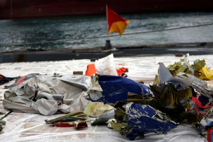 Recovered debris from Sriwijaya Air flight SJ 182 are pictured at Tanjung Priok port in Jakarta