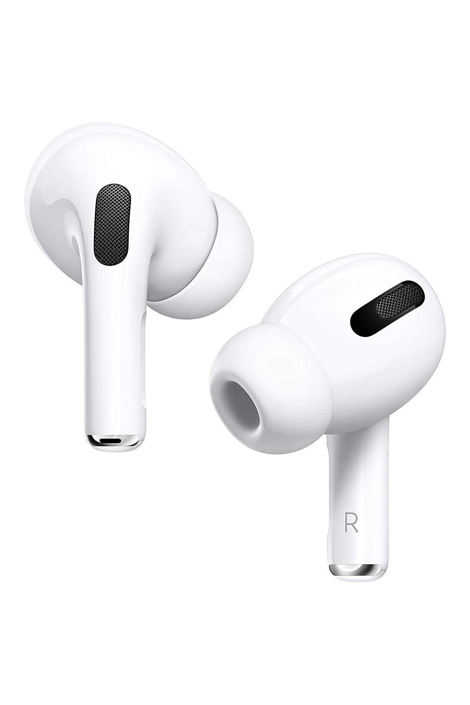 """<p><strong>Apple</strong></p><p>amazon.com</p><p><strong>$197.00</strong></p><p><a href=""""https://www.amazon.com/Apple-MWP22AM-A-AirPods-Pro/dp/B07ZPC9QD4?tag=syn-yahoo-20&ascsubtag=%5Bartid%7C10072.g.26961897%5Bsrc%7Cyahoo-us"""" rel=""""nofollow noopener"""" target=""""_blank"""" data-ylk=""""slk:Shop Now"""" class=""""link rapid-noclick-resp"""">Shop Now</a></p><p>Let's face it: You can only hear """"Rock-A-Bye Baby"""" and """"Twinkle, Twinkle, Little Star"""" so many times before losing your mind—so give your new dad the gift of peace and quiet with a pair of AirPods Pro. The wire-free design delivers quality audio performance, and more importantly, solid noise cancellation, so he can listen to his <a href=""""https://www.oprahmag.com/entertainment/g34184521/best-educational-podcasts/"""" rel=""""nofollow noopener"""" target=""""_blank"""" data-ylk=""""slk:favorite podcast"""" class=""""link rapid-noclick-resp"""">favorite podcast</a> or work on his<a href=""""https://www.oprahmag.com/life/health/g29861798/best-meditation-apps/"""" rel=""""nofollow noopener"""" target=""""_blank"""" data-ylk=""""slk:meditation practice"""" class=""""link rapid-noclick-resp""""> meditation practice</a>.</p>"""
