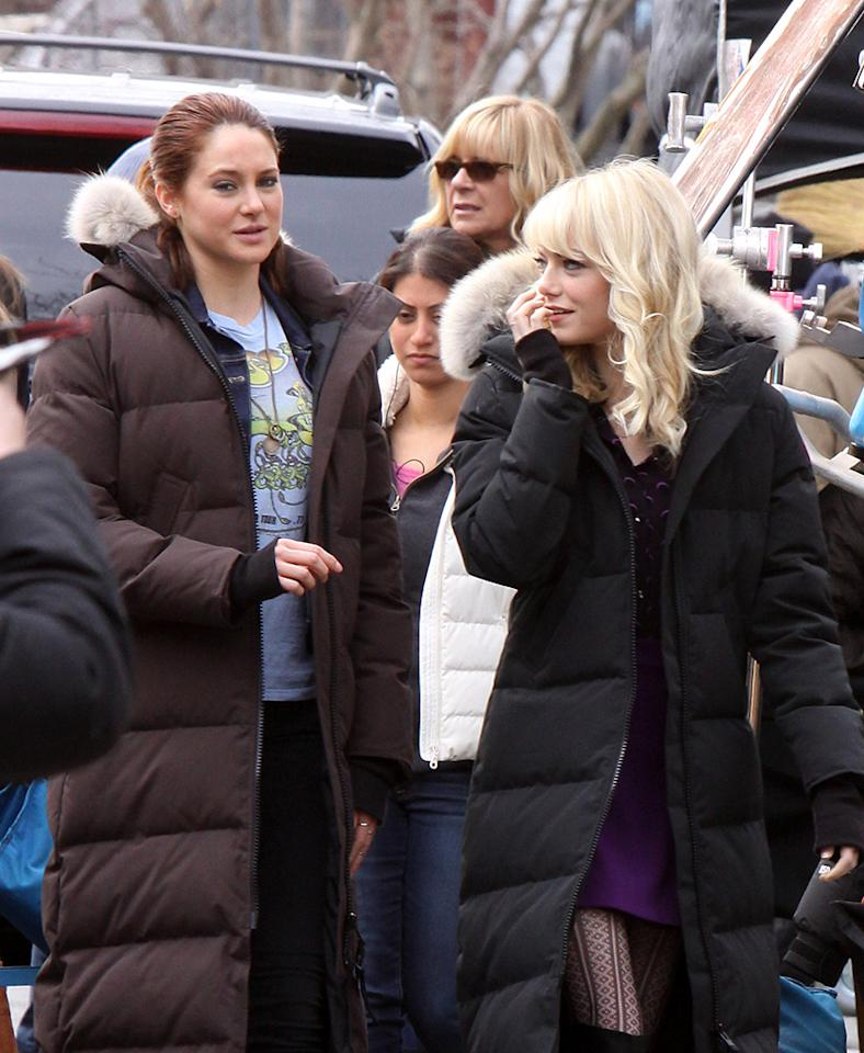 """Emma Stone, who plays Gwen Stacy pictured filming a scene with Shailene Woodley, who plays Mary-Jane Watson on the set of """"The Amazing Spider-Man 2"""" movie in Fuller Place, Prospect Avenue in Brooklyn. Pictured: Emma Stone and Shailene Woodley Ref: SPL509003  110313  Picture by: Jose Perez / Splash News   Splash News and Pictures Los Angeles:310-821-2666 New York:212-619-2666 London:870-934-2666 photodesk@splashnews.com"""