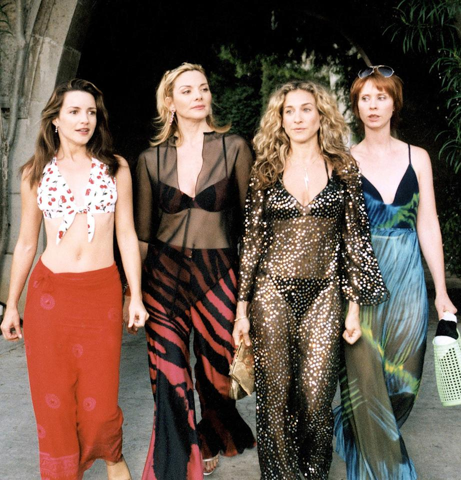 14. Near the end of the third season, Samantha got the girls invited to a party at the Playboy Mansion. Before being booted from the fete due to a faux handbag feud, Carrie strutted her stuff in this sexy black bikini and sparkly caftan.