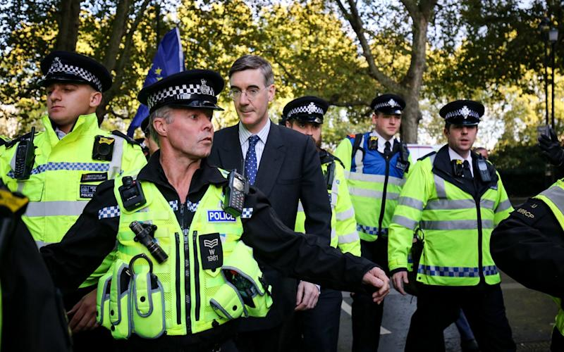 Jacob Rees-Mogg and his son Peter Theodore Alpheges are escorted by police officers in Parliament Square during an anti-Brexit rally in October - PA