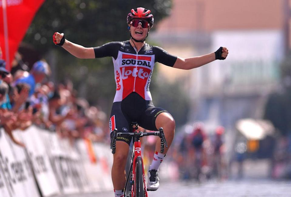 MADDALONI ITALY  SEPTEMBER 17 Arrival  Lotte Kopecky of Belgium and Team Lotto Soudal Ladies  Celebration  during the 31st Giro dItalia Internazionale Femminile 2020 Stage 7 a 1125km stage from Nola to Maddaloni  GiroRosaIccrea  GiroRosa  on September 17 2020 in Maddaloni Italy Photo by Luc ClaessenGetty Images