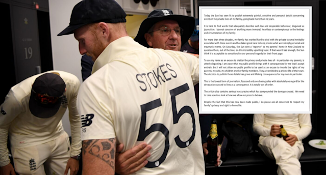 Ben Stokes hit back at The Sun after they released a story