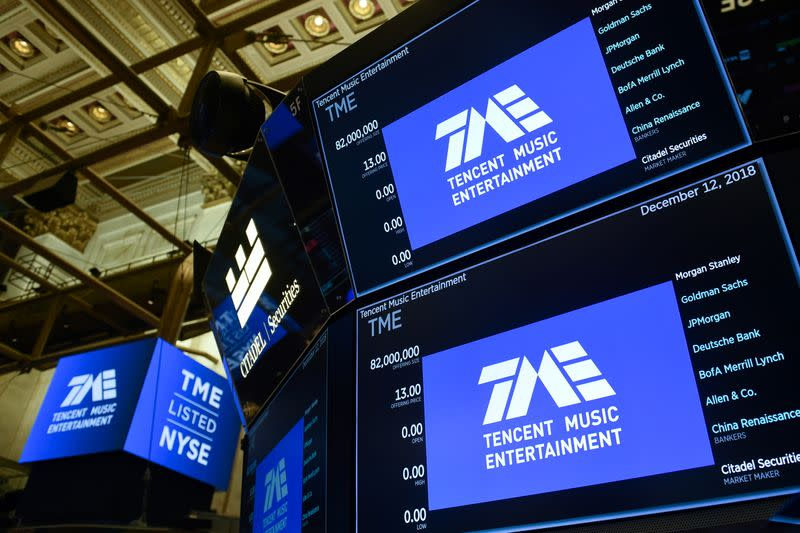 FILE PHOTO: Tencent Music Entertainment celebrates the company's IPO on the floor of the NYSE in New York