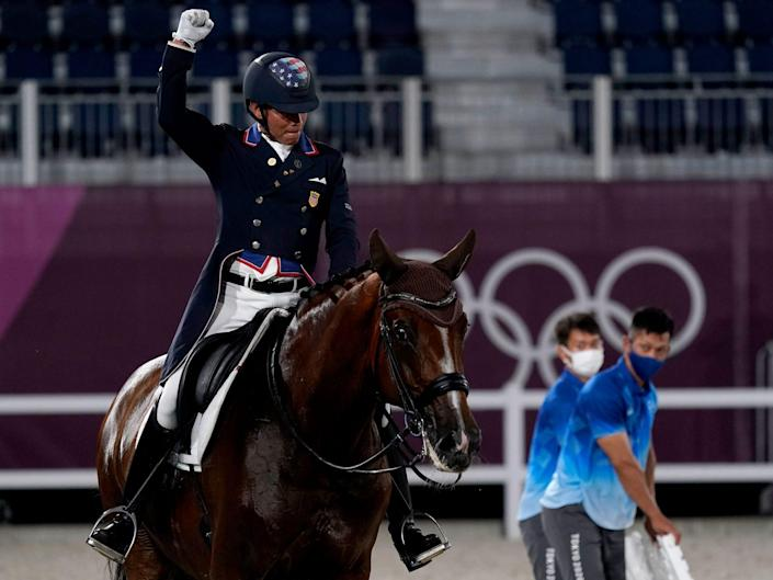 Steffen Peters riding Suppenkasper, nicknamed Mopsi, at the Tokyo Olympics.